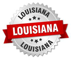 Louisiana round silver badge with red ribbon - stock illustration