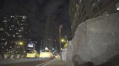Flatiron Building esttablishing shot night - stock footage