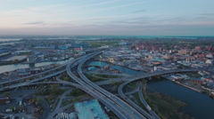 Flushing Meadows Queens Flying Forward Viewing Freeway Intersection With Traffic Stock Footage