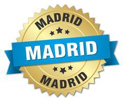 Madrid round golden badge with blue ribbon - stock illustration