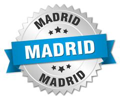 Madrid round silver badge with blue ribbon - stock illustration