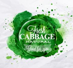 Cabbage watercolor poster - stock illustration