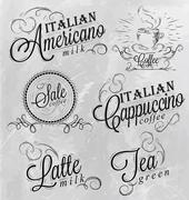 Names of coffee drinks - stock illustration