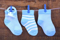 Its a Boy Blue Baby Socks - stock photo