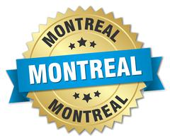 Montreal round golden badge with blue ribbon - stock illustration