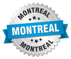 Montreal round silver badge with blue ribbon - stock illustration