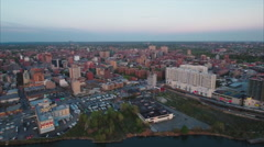 Flushing Meadows Queens Flyover Water Towards Parking Lot & Buildings Stock Footage