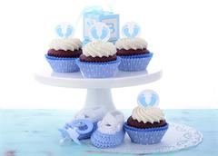 Its a Boy Blue Baby Shower Cupcakes Stock Photos