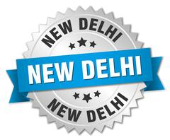 New Delhi round silver badge with blue ribbon - stock illustration