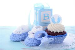 Its a Boy Blue Baby Shower Cupcakes - stock photo