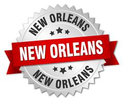 New Orleans  round silver badge with red ribbon - stock illustration
