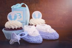 Vintage Style Baby Shower Cupcake and Gift Box - stock photo