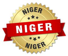 Niger round golden badge with red ribbon - stock illustration