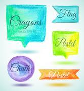 Set watercolor speech bubbles ribbons pastel - stock illustration