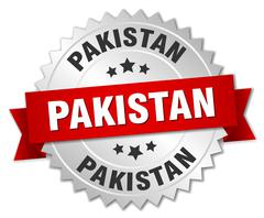 Pakistan round silver badge with red ribbon - stock illustration