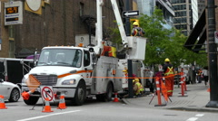 Electrical maintenance workers Vancouver Stock Footage