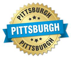 Pittsburgh round golden badge with blue ribbon - stock illustration