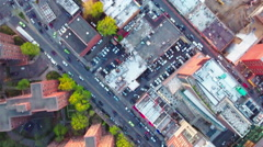 Flushing Meadows Queens Look Down View Of Apartment Buildings & Traffic Stock Footage