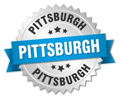 Pittsburgh round silver badge with blue ribbon - stock illustration