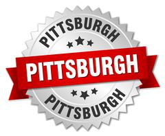 Pittsburgh round silver badge with red ribbon - stock illustration