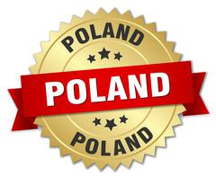Poland round golden badge with red ribbon Stock Illustration