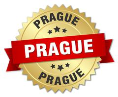 Prague round golden badge with red ribbon Stock Illustration