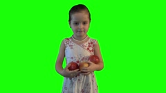 Girl offers fruit advertises hromakey Stock Footage
