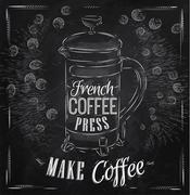 Poster French coffee press chalk - stock illustration