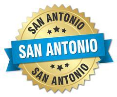 San Antonio round golden badge with blue ribbon - stock illustration