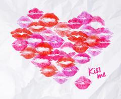 Heart lipstick kiss Stock Illustration