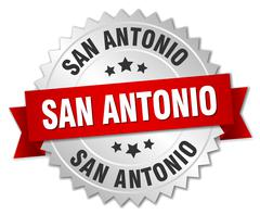 San Antonio round silver badge with red ribbon Stock Illustration