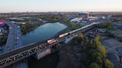Flushing Meadows Queens Aerial Of Train Bidge - stock footage