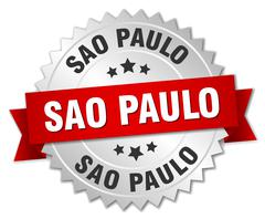 Sao Paulo round silver badge with red ribbon - stock illustration