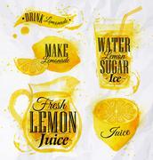 Lemonade watercolor - stock illustration
