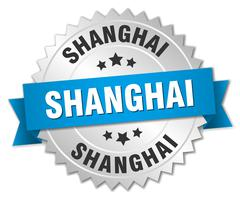 Shanghai round silver badge with blue ribbon Stock Illustration