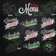 Menu Italian colours chalk - stock illustration