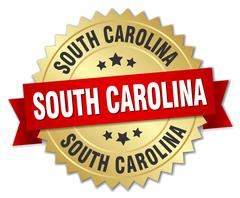 South Carolina round golden badge with red ribbon - stock illustration