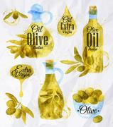 Watercolor drawn olive oil - stock illustration