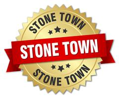 Stone Town round golden badge with red ribbon - stock illustration