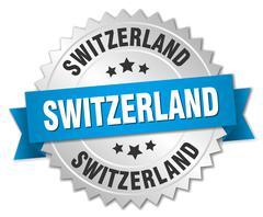 Switzerland round silver badge with blue ribbon - stock illustration