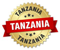 Tanzania round golden badge with red ribbon Stock Illustration