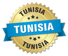 Tunisia round golden badge with blue ribbon Stock Illustration