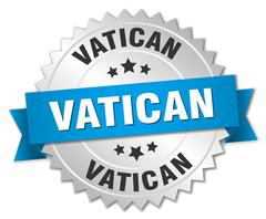 Vatican round silver badge with blue ribbon - stock illustration