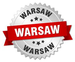 Warsaw  round silver badge with red ribbon - stock illustration