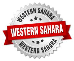 Western Sahara  round silver badge with red ribbon - stock illustration