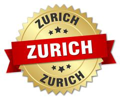 Zurich round golden badge with red ribbon - stock illustration