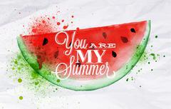 Poster fruit watermelon Stock Illustration