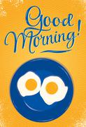 Poster good morning orange - stock illustration