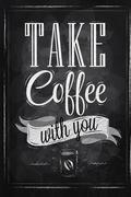 Poster take coffee - stock illustration
