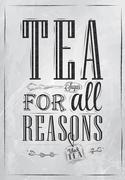 Poster tea for all reasons coal - stock illustration